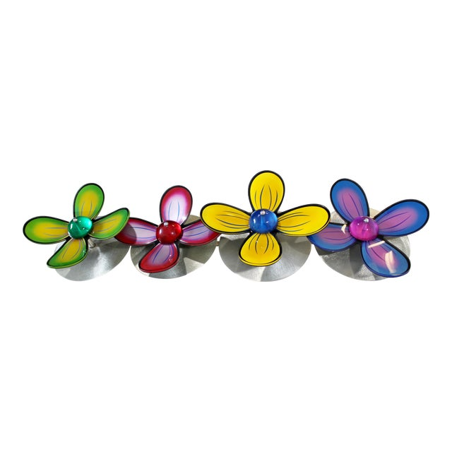 Contemporary Polished Metal Colored Lucite Acrylic Flower Wall Sculpture Haziza For Sale