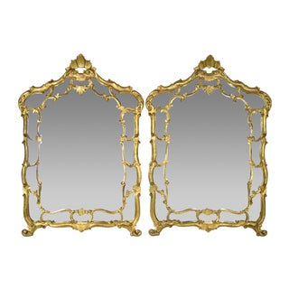 Vintage Italian Baroque Carved Giltwood Wall Mirrors - a Pair For Sale