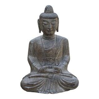 Chinese Gray Stone Carved Mid Size Sitting Buddha Gautama Shakyamuni Statue