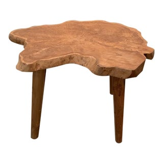 1960s Organic Wood Side Table For Sale