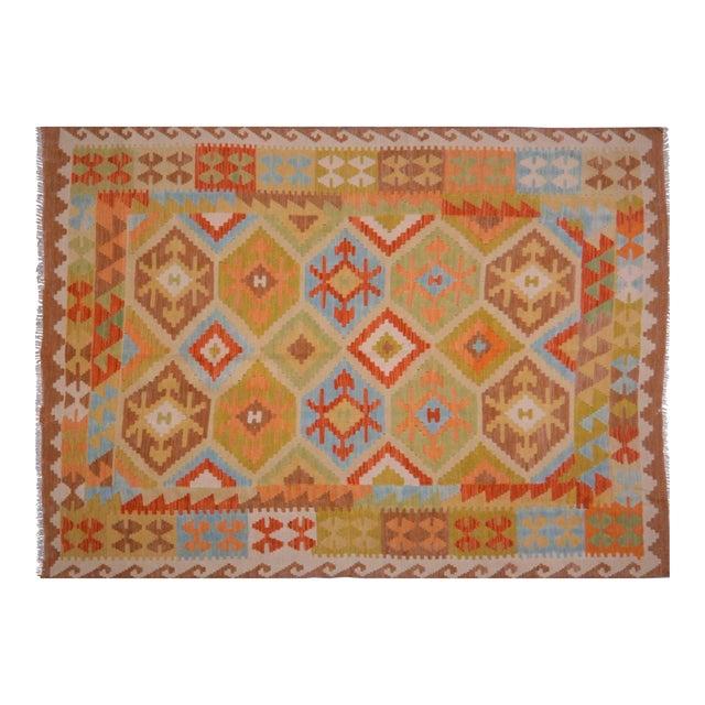 Vintage Maimana Wool Kilim Rug - 4'9″x6'8″ For Sale