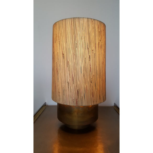 Modern Brass Table Lamp with Custom Grasscloth Shade For Sale - Image 10 of 10