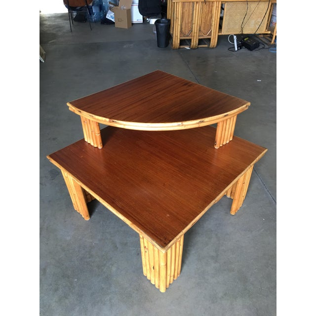 Bamboo Restored Rattan Corner Side Table With Removable Mahogany Second Tier For Sale - Image 7 of 7