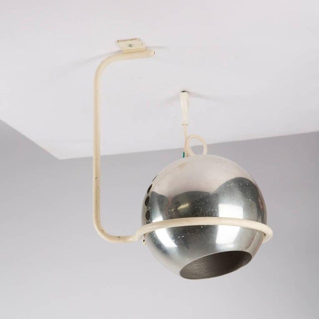 Rare set of two ceiling lamps model 232G by Gino Sarfatti for Arteluce. White lacquered frame and aluminum shade.