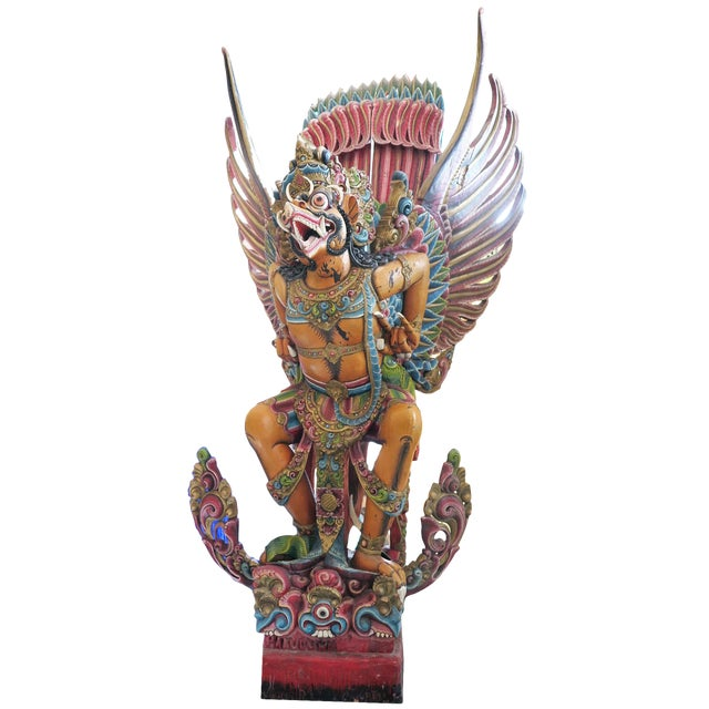 Early 20th Century Vintage Carved Wooden Garuda Primary Tabs For Sale