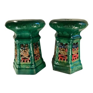 Early 20th Century Vintage French Art Deco Porcelain Garden Stools- A Pair For Sale