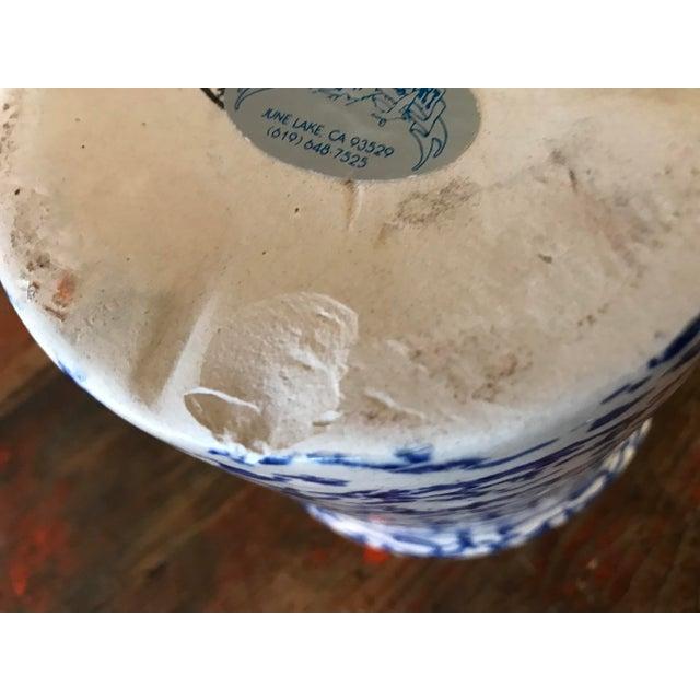 Blue California Pottery Spongeware Crock For Sale - Image 9 of 10