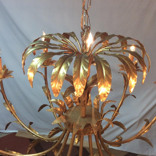Brass Hollywood Regency Italian Palm Design Gilt Tole Chandelier For Sale - Image 7 of 13