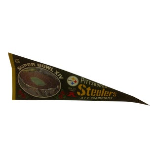 1980s Vintage NFL Pittsburgh Steelers AFC Champions Super Bowl Team Pennant For Sale