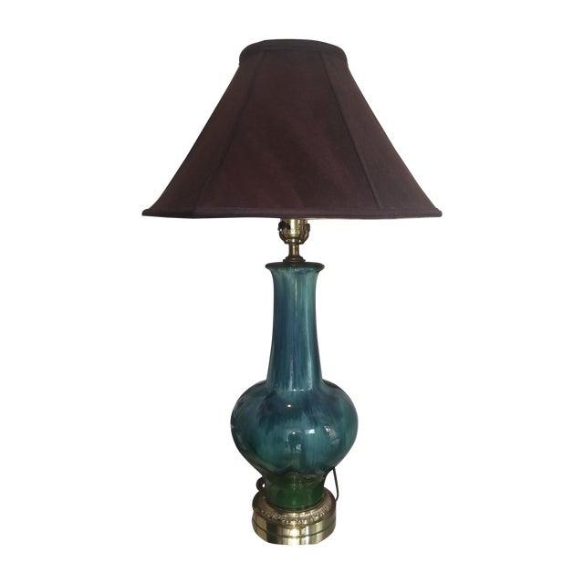 Mid Century Turquoise Drip Glaze Lamp - Image 1 of 7