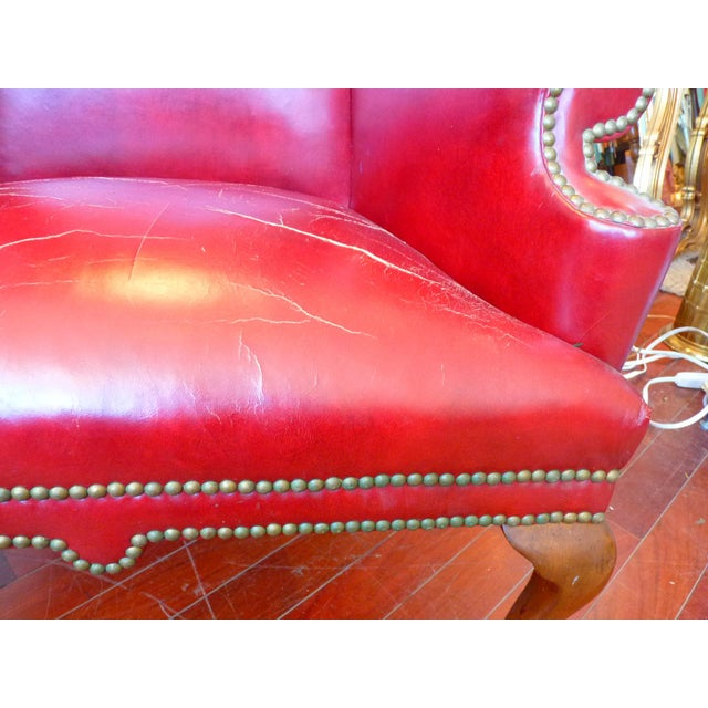 Red Vintage Red Leather Wingback Chairs With Nailhead Detail and Generous Proportions- Pair For Sale - Image 8 of 13