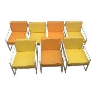 Mid-Century Yellow & Orange Beach Chairs - Set of 7