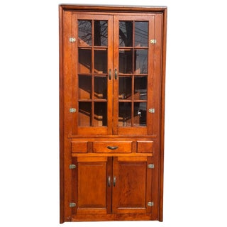 1920s Country Farmhouse Pine Corner Cabinet For Sale