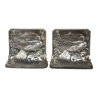 Pompeian Bronze Co. Art Nouveau Peacock Bookends - a Pair For Sale