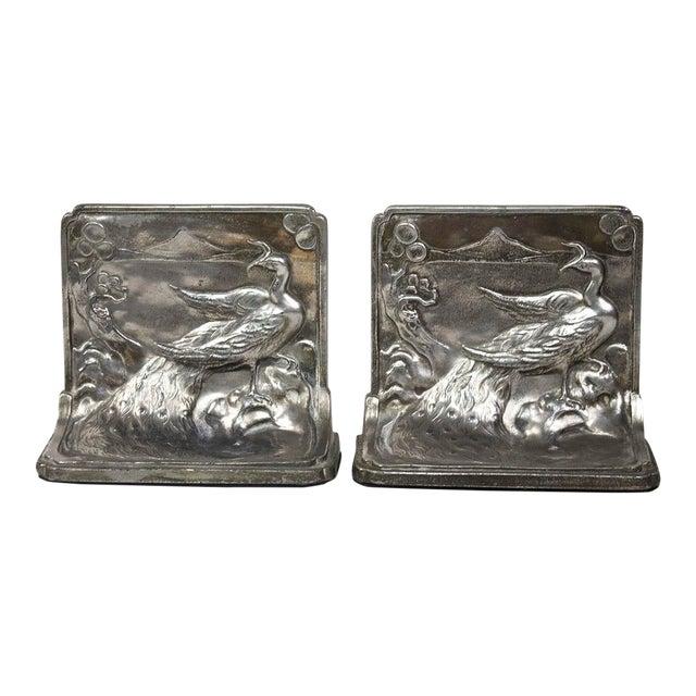 Pompeian Bronze Co. Art Nouveau Peacock Bookends - a Pair For Sale