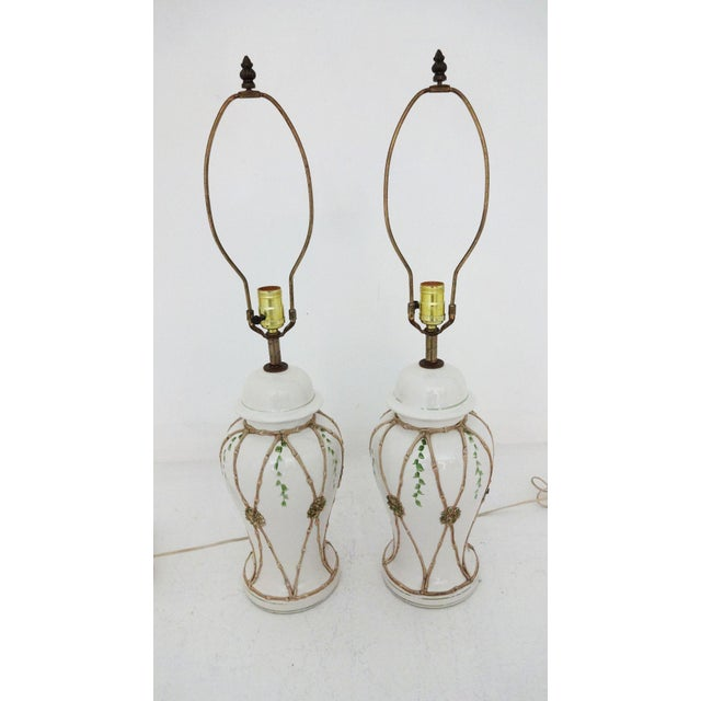 Vintage Ceramic Lamps - A Pair For Sale In New York - Image 6 of 6