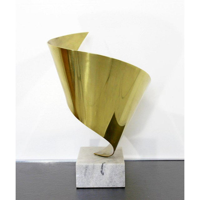 Gold Mid-Century Modern Bronze Ribbon Marble Table Sculpture Signed James Nani 1978 For Sale - Image 8 of 13