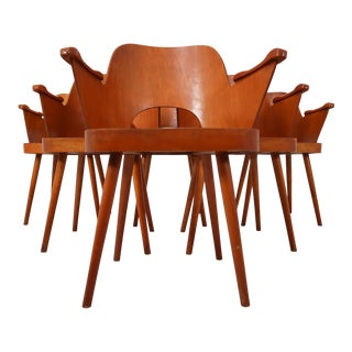 1960s Blonde Bentwood Armchairs by Oswald Haerdtl for Ton - Set of 6 For Sale