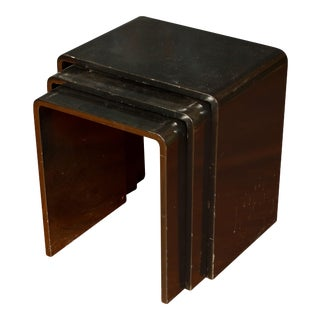 Set of Three Lacquered Nesting Tables For Sale