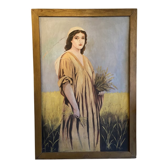 1950s Antique Ruth Harvest Painting For Sale