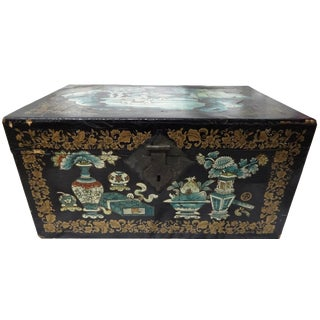 Antique Asian Hand-Painted Trunk