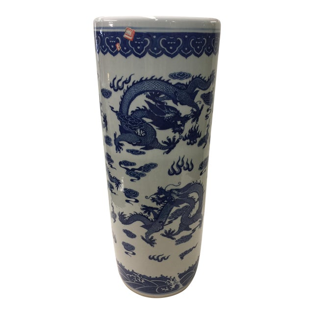 Chinese Blue and White Umbrella Stand Dragon Decoration For Sale