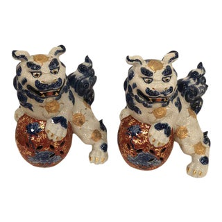 Vintage Blue and White Foo Dogs - a Pair For Sale