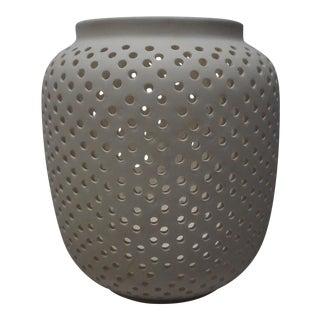 West Elm White Perforated Ceramic Vessel