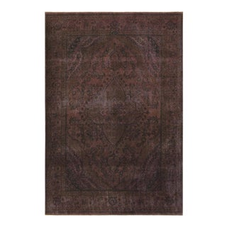 Vintage Distressed Overdyed Love Purple/Purple Wool Rug - 6'10 X 9'8 For Sale