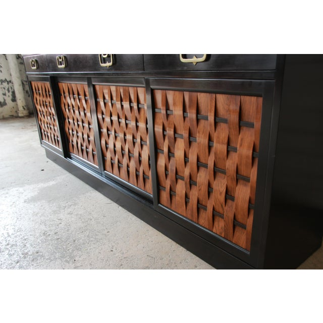 Metal Edward Wormley for Dunbar Woven Front Sideboard Credenza For Sale - Image 7 of 13