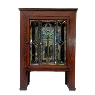 Antique Craftsman Cabinet with Stained Glass Door