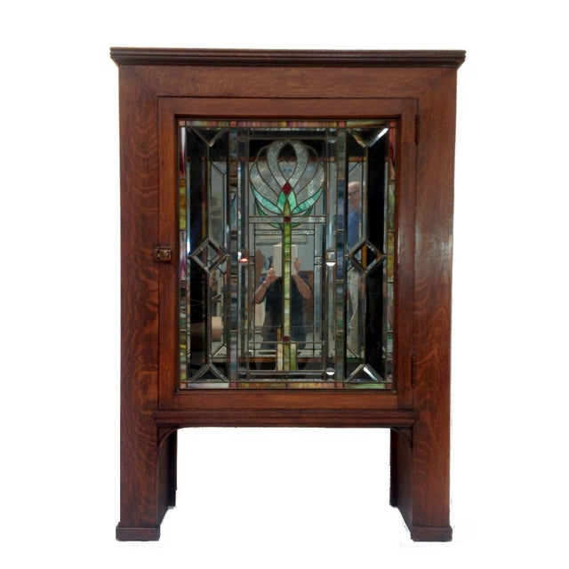 Antique Craftsman Cabinet with Stained Glass Door - Antique Craftsman Cabinet With Stained Glass Door Chairish