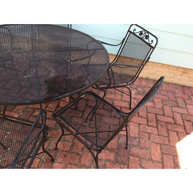 Vintage Iron Patio Dining Table & Chairs - S/7 - Image 5 of 6