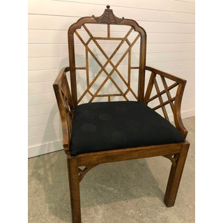 Vintage Mid Century Chippendale Style Oak Arm Chair Preview