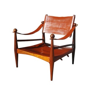 1950s Vintage Jorge Zalszupin Style Brazilian Rosewood Safari Lounge Chair For Sale