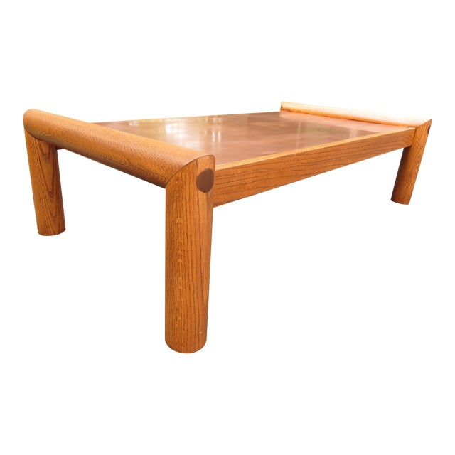 Vintage Modernist Oak & Copper Coffee Table - Image 1 of 6