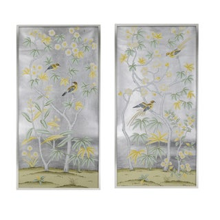 "Modern ""Hampshire House"" Chinoiserie Diptych Painting on Silver Leaf - A Pair For Sale"