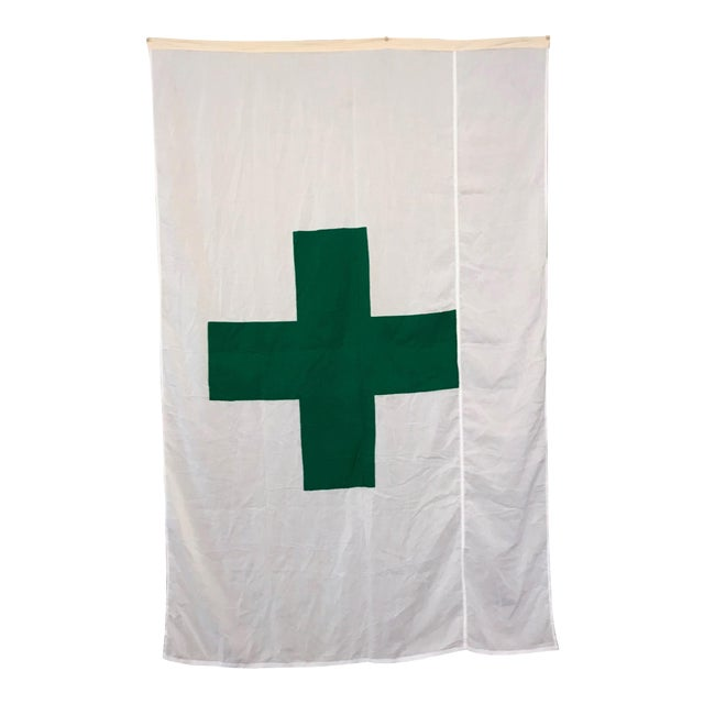 Vintage Green Cross Flag For Sale