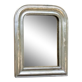 19th Century Petite French Louis Philippe Period Silver Gilded Mirror For Sale