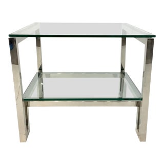 Bernhardt Contemporary Chrome and Glass Two Tier End Table For Sale