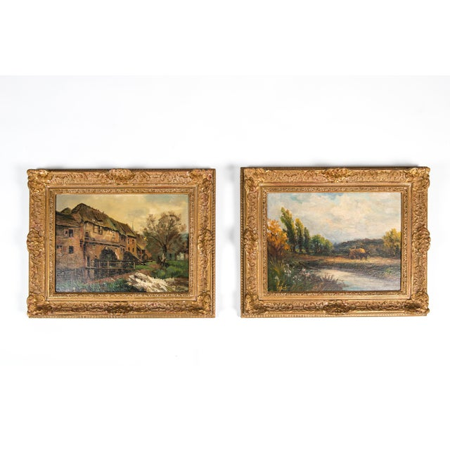 Late 19th Century Pair Oil Painting / Giltwood Frame . For Sale - Image 12 of 13