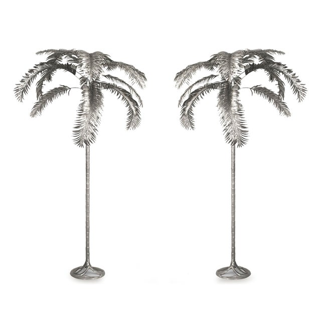 Silver Aluminum Palm Trees by Arthur Court - a Pair For Sale - Image 8 of 8