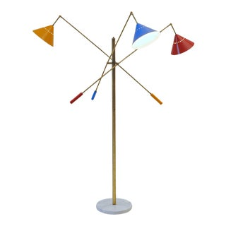 Patinated Brass Floor Lamp, Pivotting Three-Arm Triennale Style For Sale