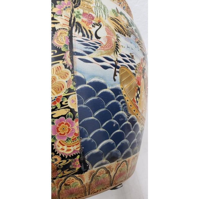 Blue Royal Satsuma Japanese Hand Painted & Transferware Planter C.1950s For Sale - Image 8 of 10