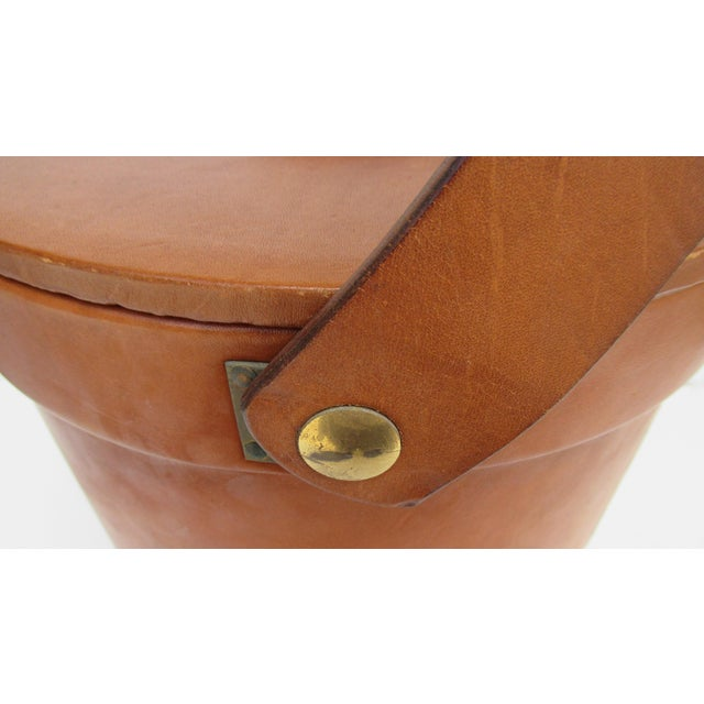 Yellow Vintage Italian Ralph Lauren-Style Tooled Saddle Leather Oversized Traveling Cooler, Wine Holder And/Or Ice Bucket For Sale - Image 8 of 13
