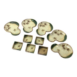 Japanese Antique Oribe Dishes - Set of 10 For Sale