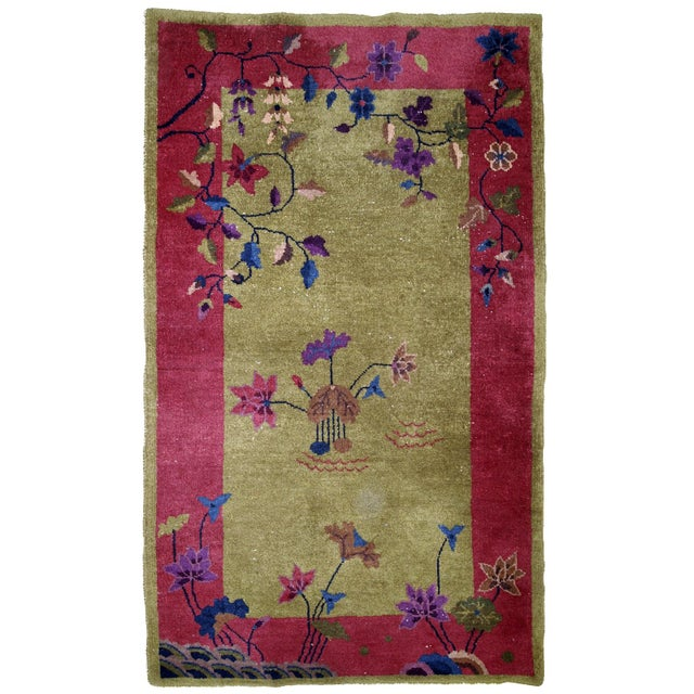 1920s, Handmade Antique Art Deco Chinese Rug 3.1' X 4.10' For Sale - Image 11 of 11