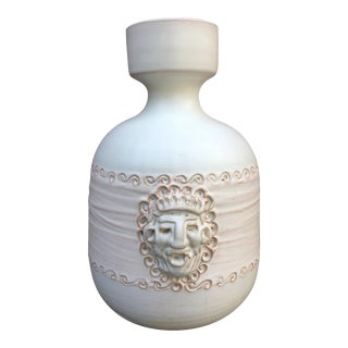 Vintage Italian Art Pottery Cream Aztec Face Vase