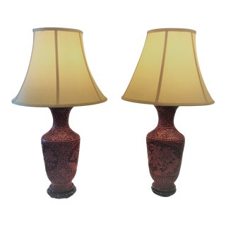 Pair Antique 19th Century Cinnabar Carved Lacquer Lamps