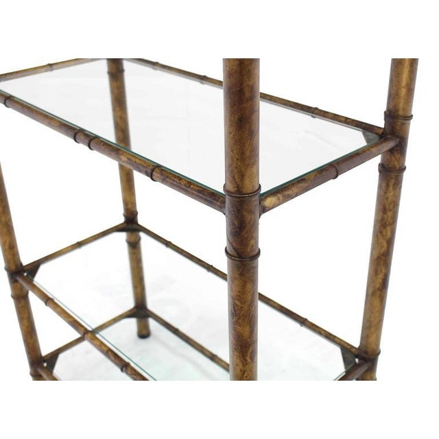Mid-Century Modern Metal Faux Bamboo Shelf For Sale - Image 3 of 7